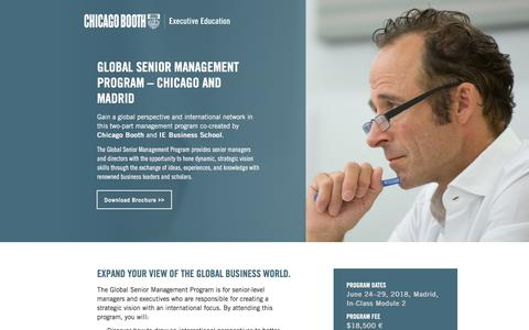 Screenshot of Landing Page chicagobooth.edu - Executive Education at Chicago Booth | Global Senior Management Program – Chicago and Madrid - captured May 11, 2018