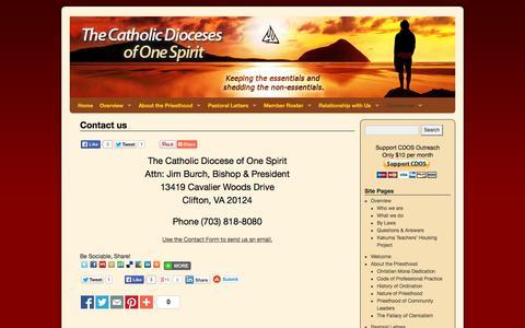Screenshot of Contact Page onespiritcatholic.org - Contact us | Catholic Dioceses of One Spirit - captured Oct. 2, 2014