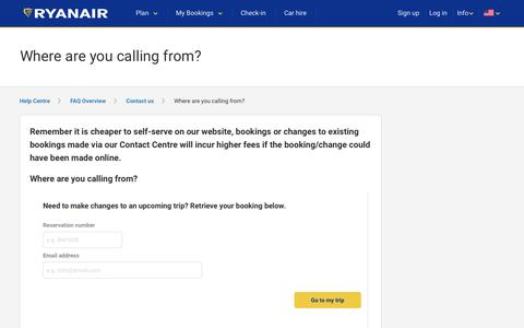 Screenshot of Contact Page ryanair.com - Where are you calling from? - captured May 6, 2017