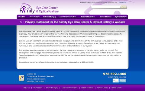 Screenshot of Privacy Page familyeyemd.com - Privacy Statement for the Family Eye Care Center & Optical Gallery's Website | Family Eye Care Center & Optical Gallery - captured June 23, 2016