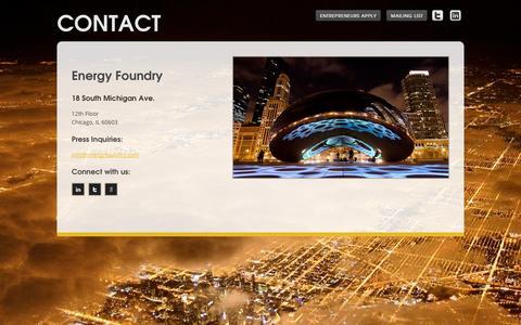 Screenshot of Contact Page energyfoundry.com - Contact - Energy Foundry - captured Sept. 30, 2014