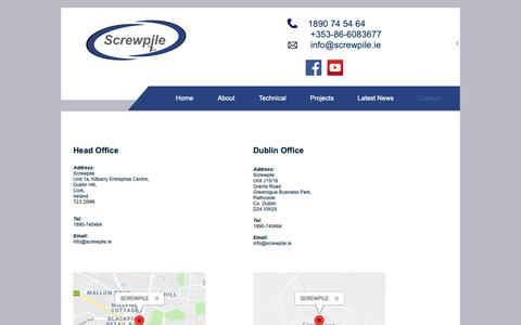 Screenshot of Contact Page screwpile.ie - Screwpile | Subsidence and Piling | Cork | Screwpile | Contact - captured Oct. 18, 2018