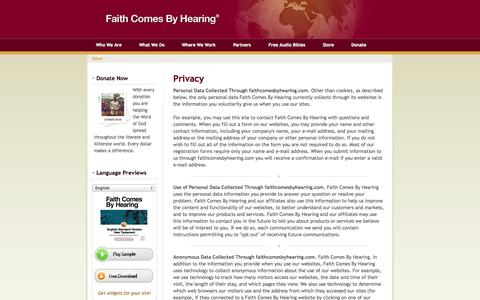 Screenshot of Privacy Page faithcomesbyhearing.com - Privacy | Faith Comes By Hearing - captured Sept. 19, 2014