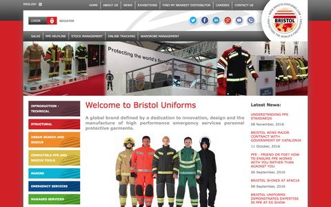 Screenshot of Home Page bristoluniforms.com - Welcome to Bristol Uniforms | Protecting the World's Firefighters | Bristol Uniforms - captured Nov. 17, 2016