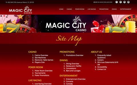 Screenshot of Site Map Page magiccitycasino.com - Magic City Casino - Site Map - captured June 11, 2016