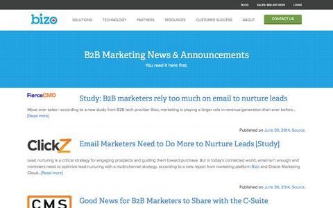 Screenshot of Press Page bizo.com - B2B Marketing News & Announcements — Bizo - captured Sept. 12, 2014