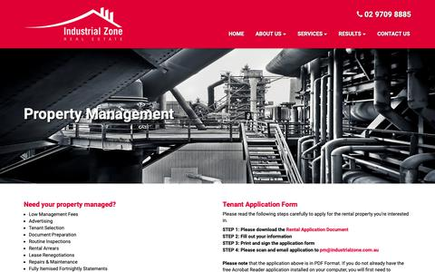 Screenshot of Services Page industrialzone.com.au - Industrial Zone - Property Management - captured Oct. 11, 2018