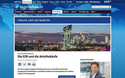 Screenshot of FAQ Page tagesschau.de - Urteil zu Anleihekäufen: Die EZB und die Anleihekäufe   tagesschau.de - captured Dec. 11, 2018