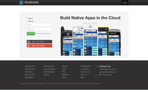 Screenshot of Signup Page rhomobile.com - RhoMobile: Hosted Development for Mobile Apps - captured June 14, 2017