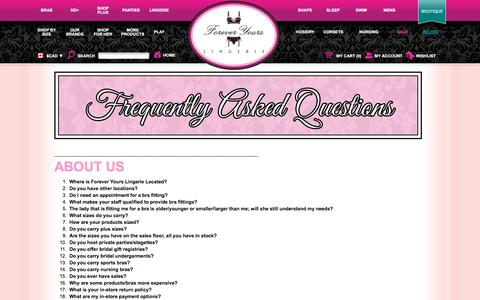 Screenshot of FAQ Page foreveryourslingerie.ca - Frequently Asked Questions | Forever Yours Lingerie | Shop Bras, Panties, Lingerie & More Online - captured Jan. 8, 2016