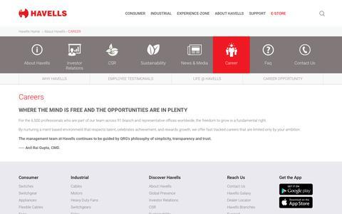 Screenshot of Jobs Page havells.com - Career in Havells India - captured Oct. 31, 2019