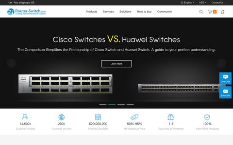 Screenshot of Home Page router-switch.com - Cisco Router, Cisco Switch, New Used Cisco Prices Comparison - captured July 31, 2017