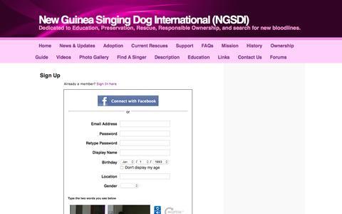 Screenshot of Signup Page newguineasingingdoginternational.com - Signup - New Guinea Singing Dog International (NGSDI) - captured June 20, 2016