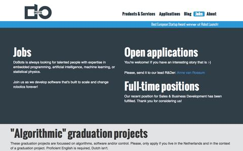 Screenshot of Jobs Page dobots.nl - DoBots | Jobs - captured Nov. 3, 2014