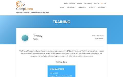 Screenshot of Privacy Page complions-grc.com - Privacy |  GRC control cursus - captured Dec. 9, 2017