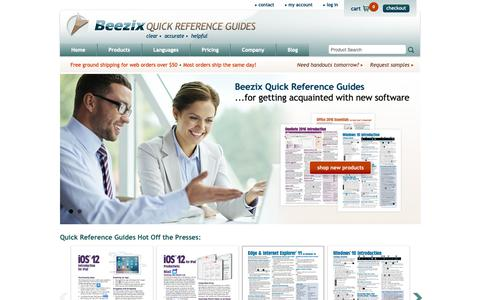 Screenshot of Home Page beezix.com - Windows 10, Office 2016 Quick Reference Guides & Cards - Beezix - captured Oct. 5, 2018