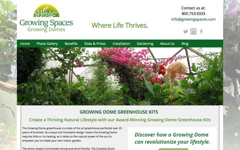 Screenshot of Home Page geodesic-greenhouse-kits.com - Geodesic Dome Greenhouses, Greenhouse Kits, Solar Greenhouses, Garden Green Houses, Home Greenhouses - captured Jan. 26, 2015