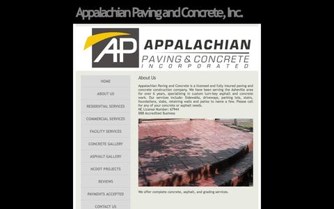 Screenshot of About Page appalachianpaving.net - Appalachian Paving and Concrete, Inc. - About Us - captured Feb. 6, 2016