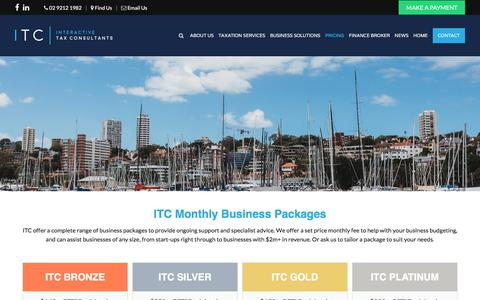 Screenshot of Pricing Page interactivetaxconsultants.com.au - ITC Monthly Business Packages and Business Start Up Packages - captured Sept. 19, 2018