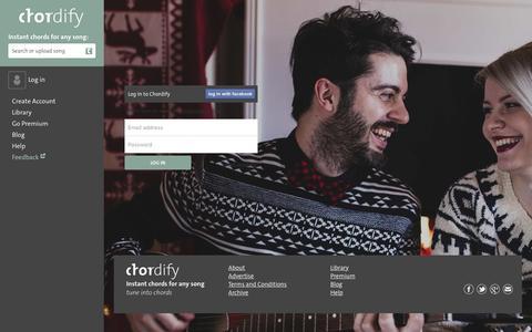 Screenshot of Login Page chordify.net - Sign in - Chordify - captured Jan. 16, 2016