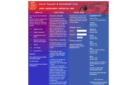 Screenshot of Home Page dover-squash-club.co.uk - Kent Squash Club - Dover Squash and Racketball Club, Kent, UK - captured Jan. 21, 2017