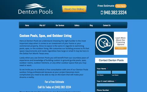 Screenshot of Services Page dentonpools.com - Dallas | Fort Worth | Denton TX Swimming & Outdoor Solutions - captured Sept. 24, 2018