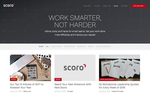 Screenshot of Blog scoro.com - Work Smarter, Not Harder | Blog | Scoro - captured Jan. 16, 2018