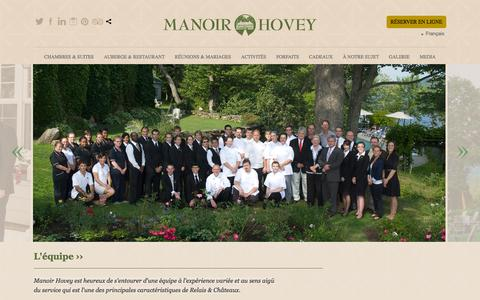 Screenshot of Team Page manoirhovey.com - Manoir Hovey - L'équipe - captured Sept. 30, 2014