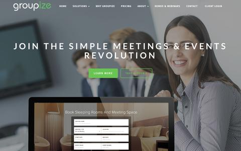 Screenshot of Home Page groupize.com - Groupize Meetings – Simple Meetings and Events Technology - captured May 15, 2018