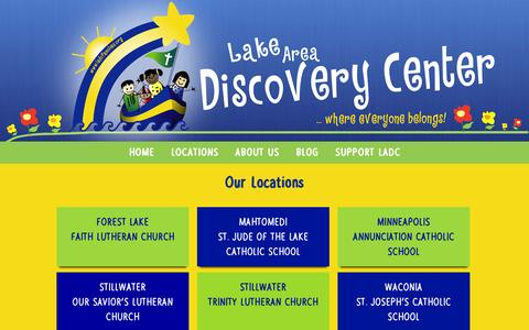 Screenshot of Locations Page ladcfamilies.org - Our Locations – Lake Area Discovery Center - captured Oct. 27, 2014