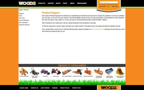 Screenshot of Support Page woodsequipment.com - Support - captured Oct. 9, 2014