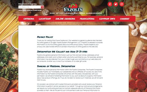 Screenshot of Privacy Page fazolis.com - Privacy Policy | Fazoli's - captured Oct. 13, 2017