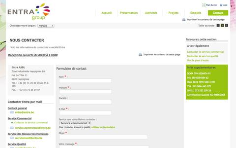 Screenshot of Contact Page entra.be - Entra ASBL - Nous contacter - captured Sept. 30, 2014