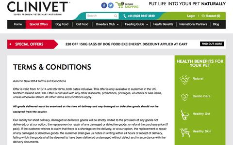 Screenshot of Terms Page clinivet.com - Terms & Conditions - Clinivet - captured Oct. 1, 2014
