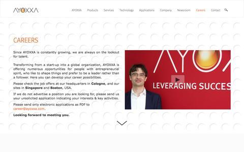 Screenshot of Jobs Page ayoxxa.com - Job Opportunities | AYOXXA - captured Nov. 21, 2016