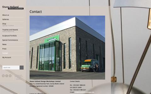 Screenshot of Contact Page shanehollanddesign.com - Shane Holland Design Workshops | Contact - Shane Holland Design Workshops - captured Oct. 8, 2014