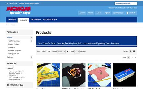 Screenshot of Products Page michiganspecialtypaper.com - Heat Transfer Products - captured Jan. 10, 2016