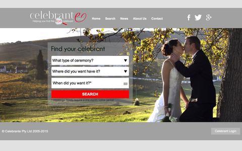 Screenshot of Home Page celebrante.com.au - Celebrante - Australia's premier celebrant directory - captured Dec. 7, 2015