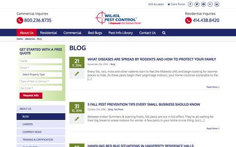 Screenshot of Blog wil-kil.com - Wisconsin Pest Control News | Wil-Kil Pest Management Blog - captured Nov. 30, 2016