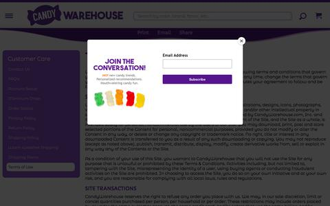 Screenshot of Terms Page candywarehouse.com - Terms Of Use | Terms of Use | CandyWarehouse.com - captured Sept. 23, 2018