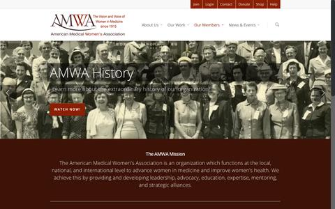 Screenshot of Home Page amwa-doc.org - American Medical Women's Association - captured Sept. 13, 2015