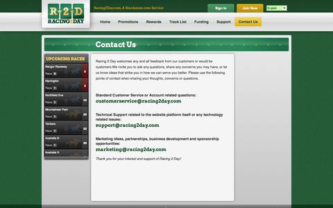 Screenshot of Contact Page racing2day.com - Contact Us | Racing2Day - captured Oct. 6, 2014