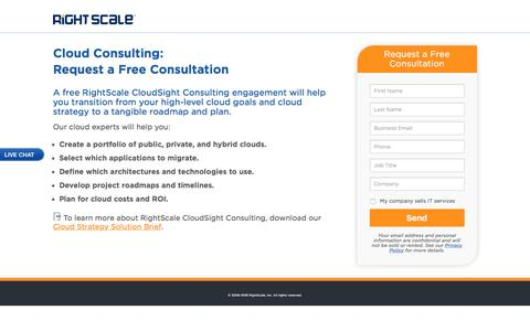 Screenshot of Landing Page rightscale.com - Get Free Cloud Consulting for Advancing Your Cloud Strategy - captured Aug. 18, 2016