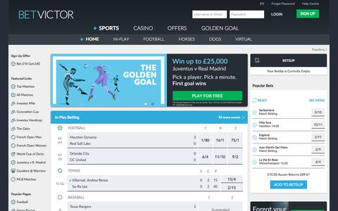 Screenshot of Home Page betvictor.com - One of the Biggest Online Betting Sites, FREE £40 Bet - BetVictor - captured June 1, 2017