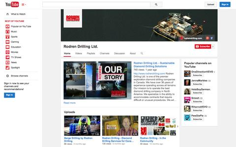 Screenshot of YouTube Page youtube.com - Rodren Drilling Ltd.  - YouTube - captured Oct. 25, 2014