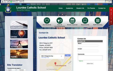 Screenshot of Contact Page lcsnogales.org - Contact Us - Lourdes Catholic School - captured May 31, 2016