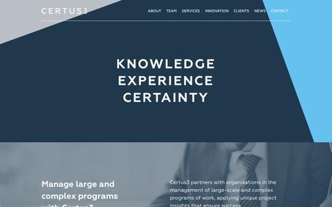Screenshot of Home Page certus3.com - Home - Certus3 - captured June 16, 2015