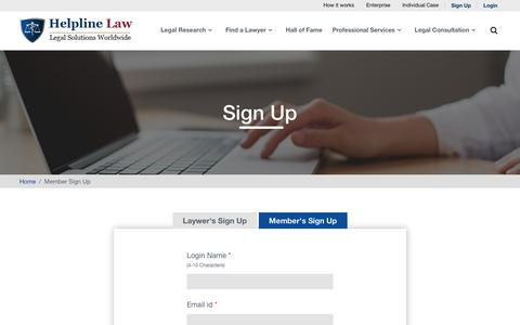 Screenshot of Signup Page helplinelaw.com - Law Firm Lawyers Member Registration Form - Legal Advisor,Law Firm Lawyers,Attorney - Helplinlaw.com - captured July 13, 2018