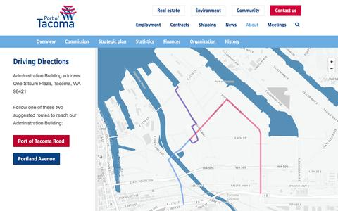 Screenshot of Maps & Directions Page portoftacoma.com - Driving directions | Port of Tacoma - captured May 17, 2017