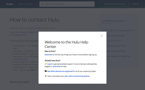 Screenshot of Contact Page hulu.com - Contact Hulu - captured Sept. 15, 2019